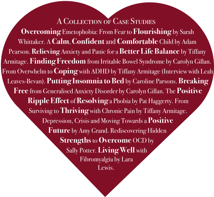 Heart shaped image showing titles and authors of SFH case studies